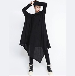 Long Tight Sleeves Irregular Length Loose Fit Black Dress