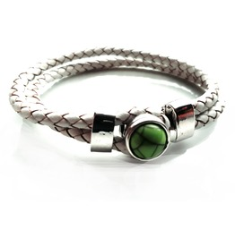 Cool Green Marble Snap Button Design White Plaited Leather Effect Bracelet