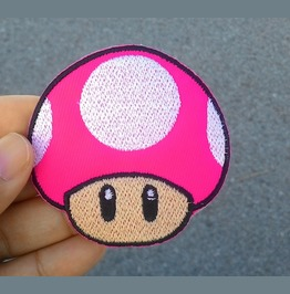 Pink Mushroom Game Embroidered Iron On Patch.