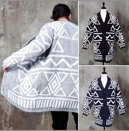 Indian Vibe Patterned Long Knit Cardigan 124