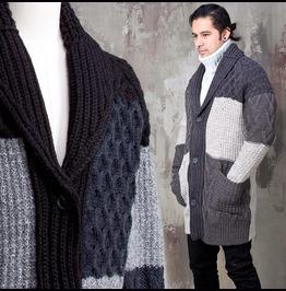 Multiple Contrast Twisted Pattern Knit Shawl Cardigan 125