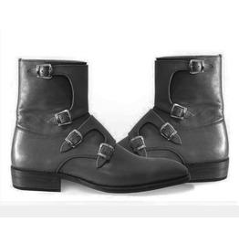 Handmade Men 4 Buckle Ankle Boots, Men Monk Boots, Men Ankle Leather Boots