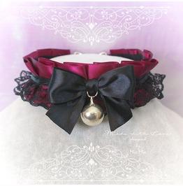 Kitten Pet Play Collar Ddlg Choker Necklace Burgandy Red Black Lace Ruffles