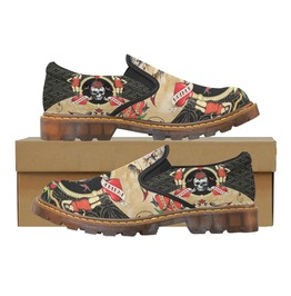 Funky Vintage Tattoo Skull & Hearts Dr Martens Style Slip On Loafer Shoes