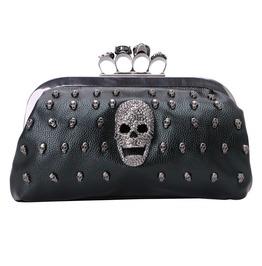 Gothic Skull Rivet Black Shoulder Bag Purse