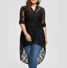 Women's Plus Size Black Lace Button Up Gothic Tunic Top Sizes Up To 5 Xl