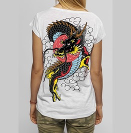 Dragon In Sky T Shirt Women Snake Legend