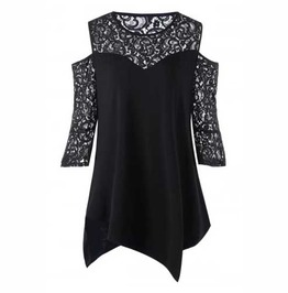 Women's Plus Size Black 3/4 Sleeve Lace Shirt Cut Out Shoulder Gothic Top