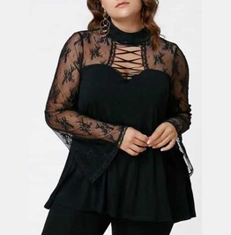 Women's Plus Size Black Lace Mesh Long Bell Sleeved Shirt Gothic Top