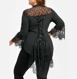 Women's Plus Size Black Lace Corset Back Blouse Romantic Shirt Goth Top