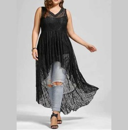 Women's Plus Size Long Black Flowy Sleeveless Romantic Goth Tunic Top Dress