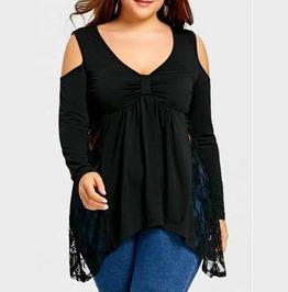 Women's Plus Size Black Long Sleeve Side Lace Panel Cut Shoulder Goth Top