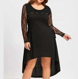 Women's Plus Size Black Open Back Lace Sleeve Corset Side Goth Tunic Dress