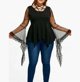 Women's Plus Size Black Pentagram Lace Sleeve Halter Pointed Hem Goth Top