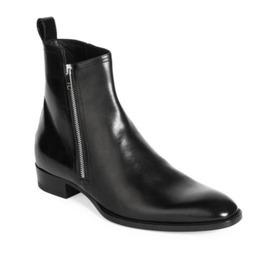 Handmade Men Black Chelsea Leather Boots, Men Fashion Side Zipper Boot Men