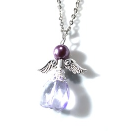 Angelic Handmade Purple Angel Bead Pendant On Silver Chain