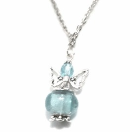Angelic Handmade Light Grey Green/Blue Angel Bead Pendant On Silver Chain