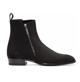 Handmade Men Black Suede Chelsea Boots Men Fashion Side Zipper Boot
