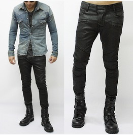 Wax Coated Tough Chic Black Biker Jean