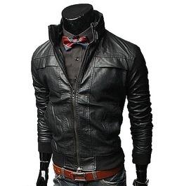Mens Biker Leather Jacket, Men Slim Fit Black Biker Leather Jacket
