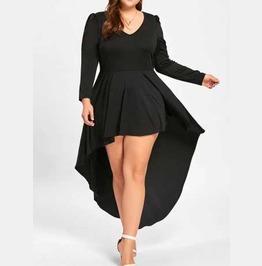 Women's Plus Size Black Tapered Long Sleeve Cocktail Goth Flowy Mini Dress