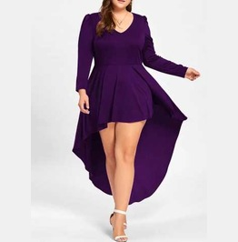 Women's Plus Size Purple Tapered Long Sleeve Cocktail Goth Flowy Mini Dress