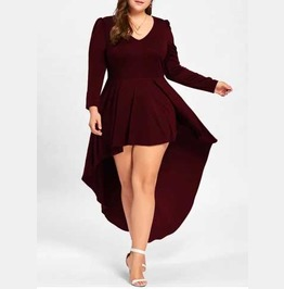 Women's Plus Size Red Tapered Long Sleeve Cocktail Goth Flowy Mini Dress
