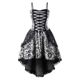 Women's Plus Size White Black Gothic Lolita Corset Lace Floral Mini Dress