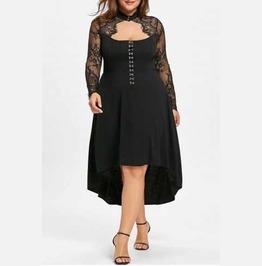 Women's Plus Size Black Gothic Corset Back Dovetail Lace Sleeve Dress