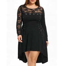 Women's Plus Size Black Gothic Corset Sides Dovetail Lace Sleeve Dress