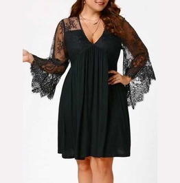 Women's Plus Size Black Lace Bell Sleeved Retro Knee Length Goth Dress
