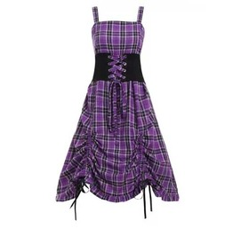 Women's Plus Size Black Purple Plaid Knee Length Goth Punk Corset Dress