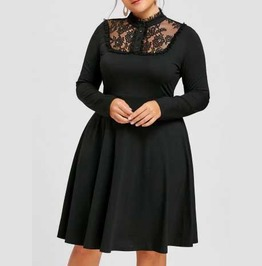 Women's Plus Size Black Lace Long Sleeve Knee Length Corset Back Goth Dress