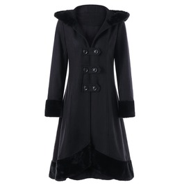 Double Row Buttons Black Hooded Outerwear