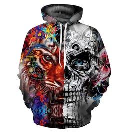 3 D Unisex Skull Lion Print Hooded Sweatshirts