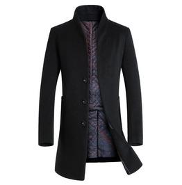 Men Stand Collar Single Breasted Long Coat Men Heavy Duty Wool Coat