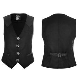 Men's Steampunk V Neck Metal Buckles Deco Waistcoat Vest Y862