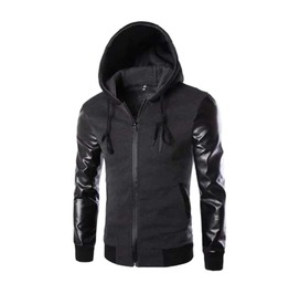 Men's Grey Black Vegan Leather Sleeved Hoodie Goth Punk Hooded Jacket