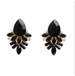 Enchanting Black Gem Crystal Stud Earrings