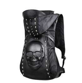 Avant Garde Mens Fashion 3 D Skull Rivet Studs Black Backpack