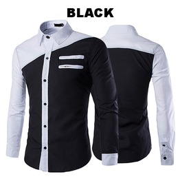 Double Zipper Black&White Men's Casual Shirt Long Sleeves