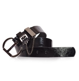 Womens Punk Black Belt With Chain Detail