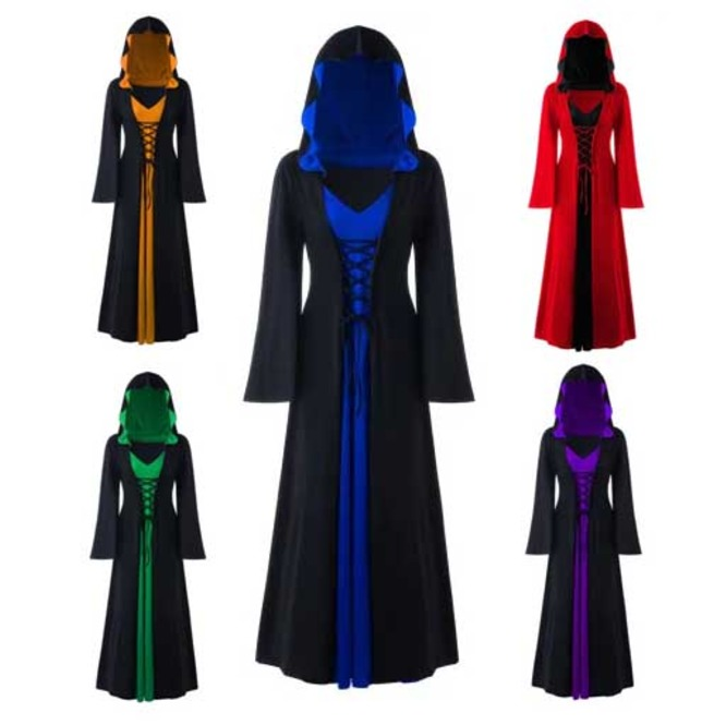 Womens Plus Size Gothic Medieval Hooded Bell Sleeve Elf Cloak