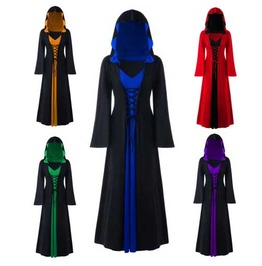 Women's Plus Size Gothic Medieval Hooded Bell Sleeve Elf Cloak Dress