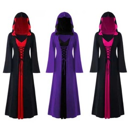 Women's Plus Size Black Medieval Cosplay Hooded Bell Sleeve Elf Cloak Dress