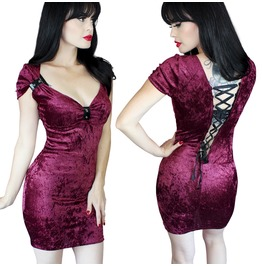 Sale! Velvet Wine Corset Back Goth Tattoo Bodycon Clothing Dress S/M/2/X/
