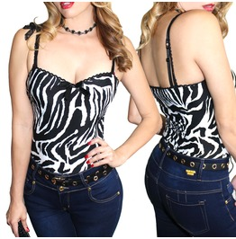 Demi Loon Zebra Pinup Gothic Rockabilly Sexy Cami Club Top Choose Size!