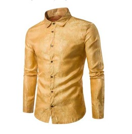 Mens Gold Paisley Button Up Victorian Gentleman Dress Shirt $5 To Ship