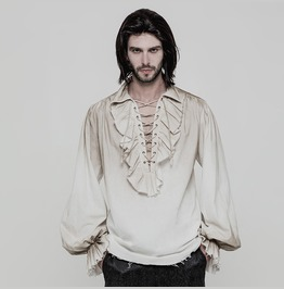 Punk Rave Men's Steampunk Ruched Lace Up Drawstring Long Sleeve Shirt Y873