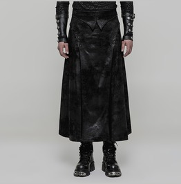 Punk Rave Men's Gothic Gorgeous Embroidered Faux Suede Skirt Q355